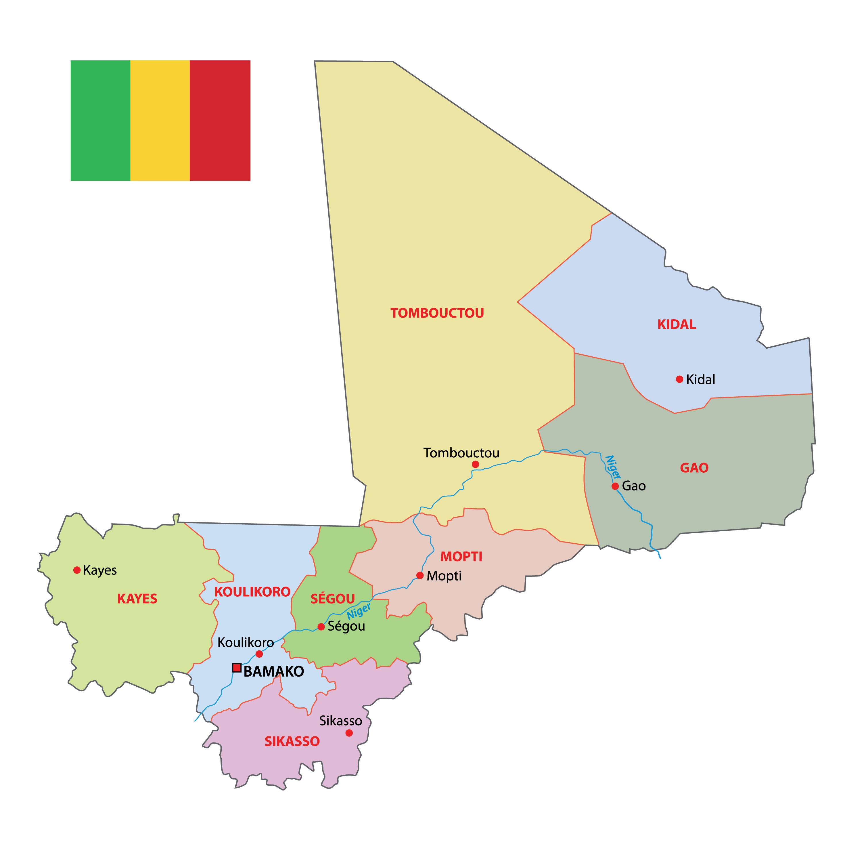 Political Map of Mali displaying 10 regions, their capital, and the national capital of Bamako.