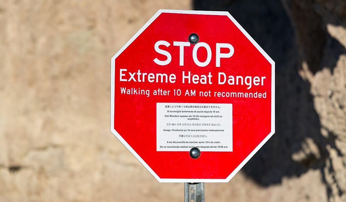 Extreme heat warning sign at Death Valley National Park in California.