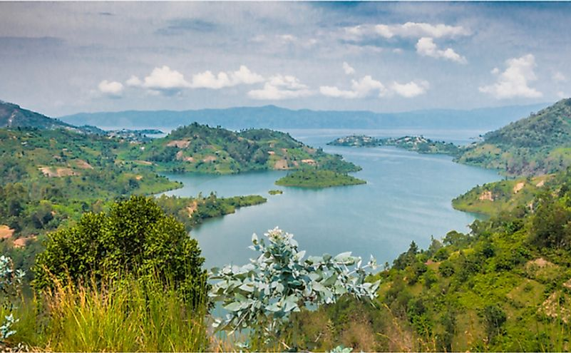 Panoramic top view of Lake Kivu, Rwanda. Lakes are important natural resources of the country.