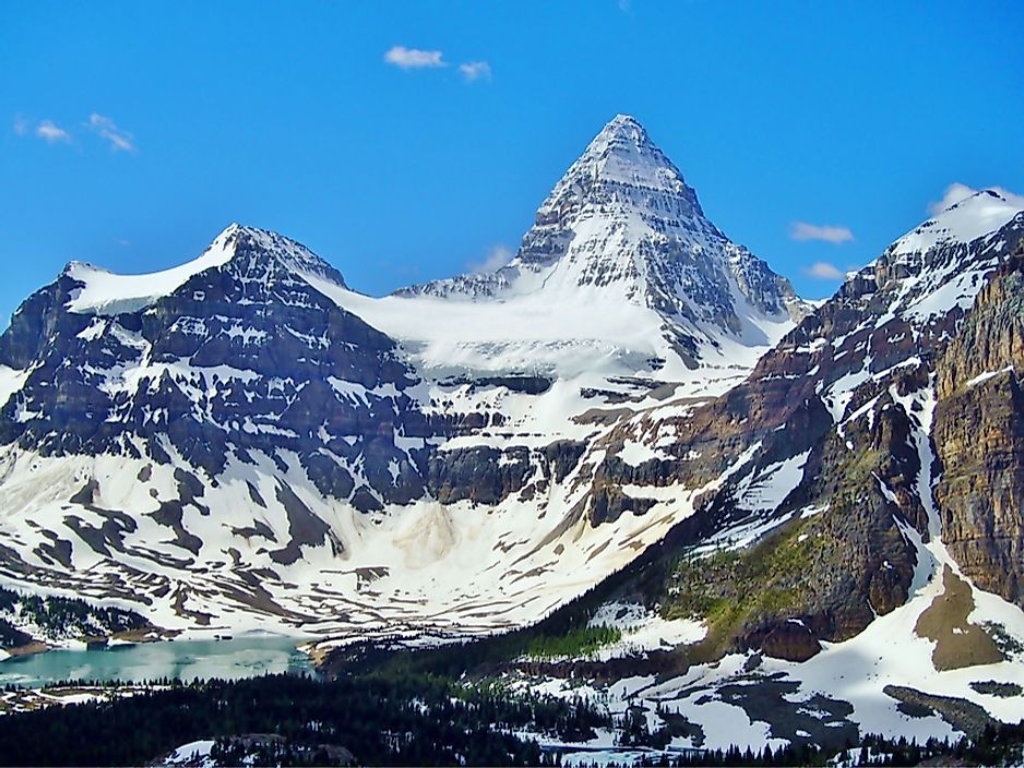Mount Assiniboine is one of the tallest peaks in Alberta.