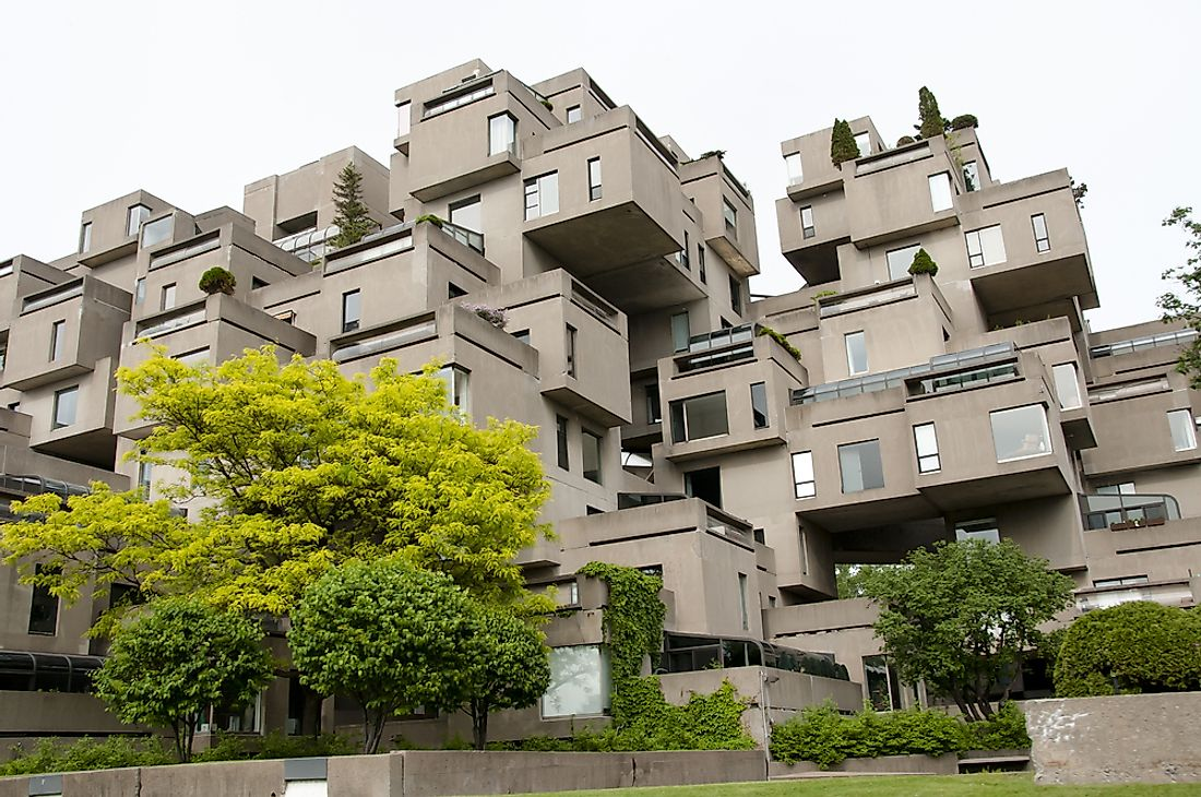 The unique appearance of Habitat '67, in Montreal, Canada, has made it one of the world's most recognizable brutalist buildings.