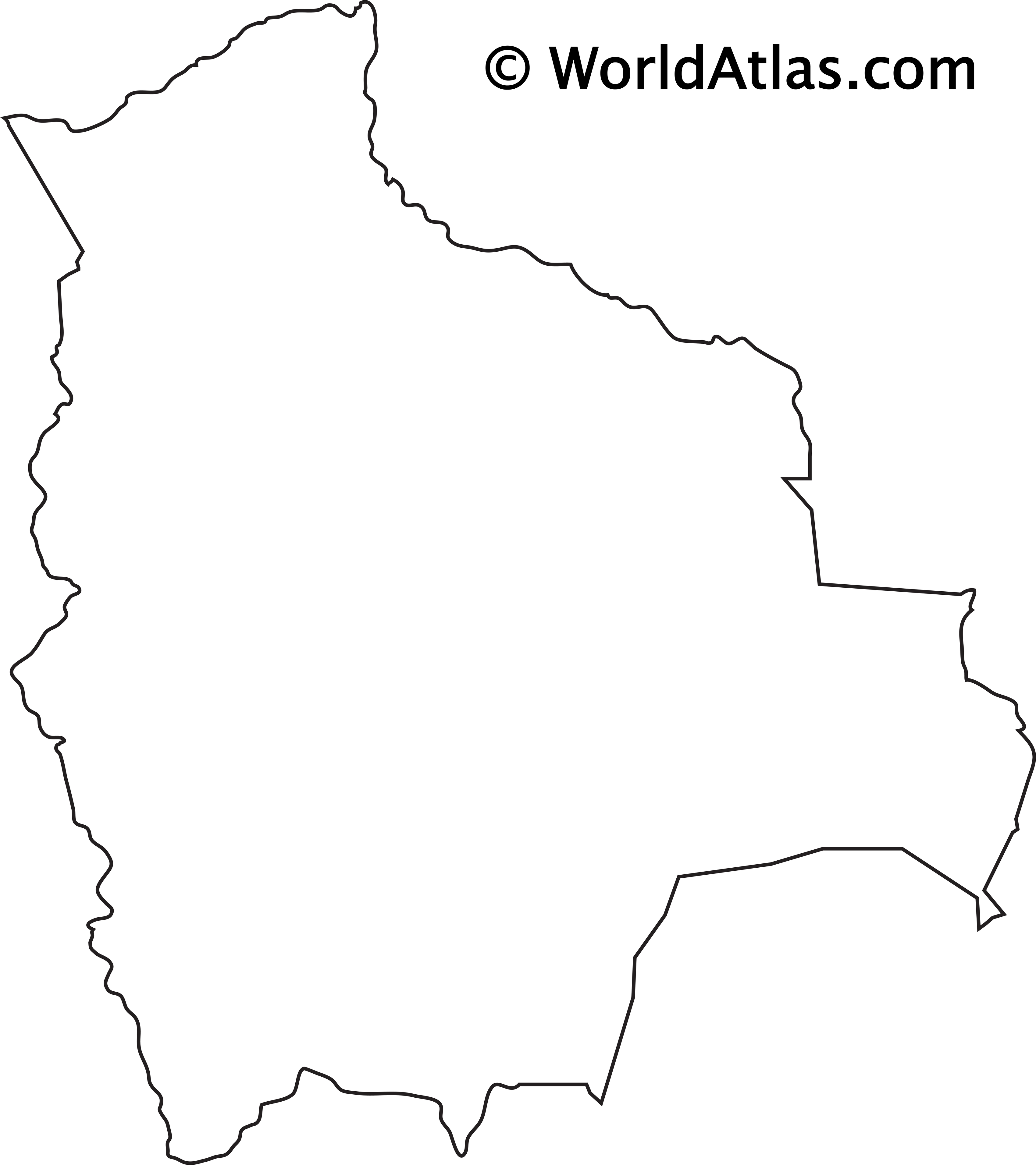 Blank Outline Map of Bolivia