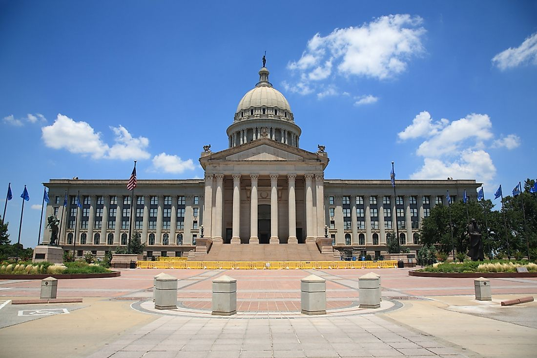 The Oklahoma State Capitol Building in Oklahoma City was built between 1914 and 1917.