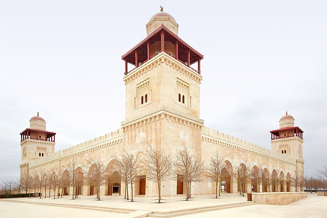 The King Hussein Bin Talal mosque in Amman is the largest mosque in Jordan.