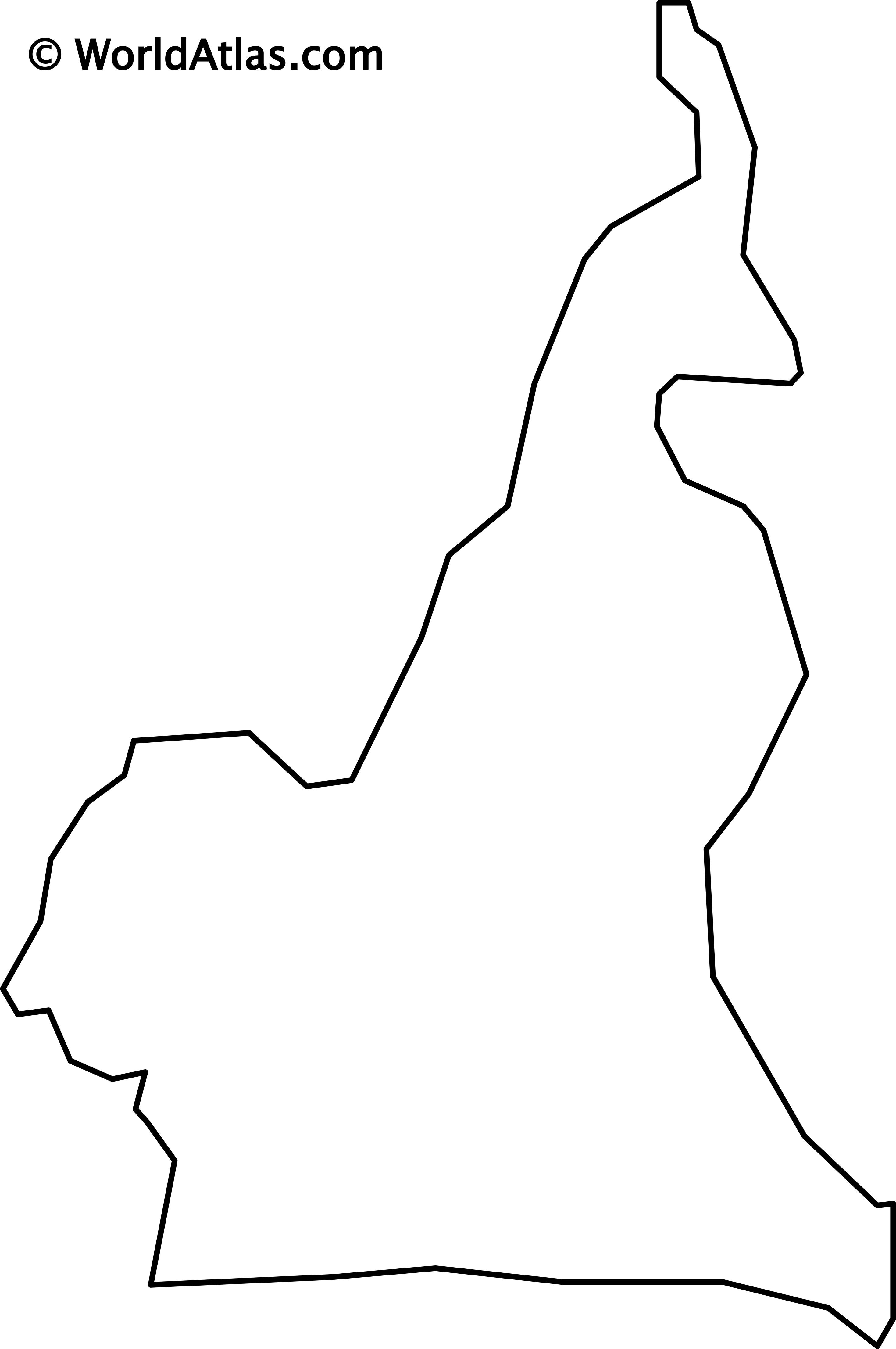 Blank Outline Map of Cameroon