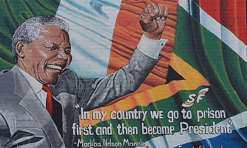 A poster of Mandela accompanied by a famous quote by him.