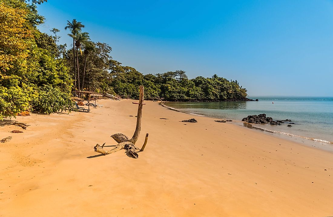 The coastline of Guinea-Bissau.