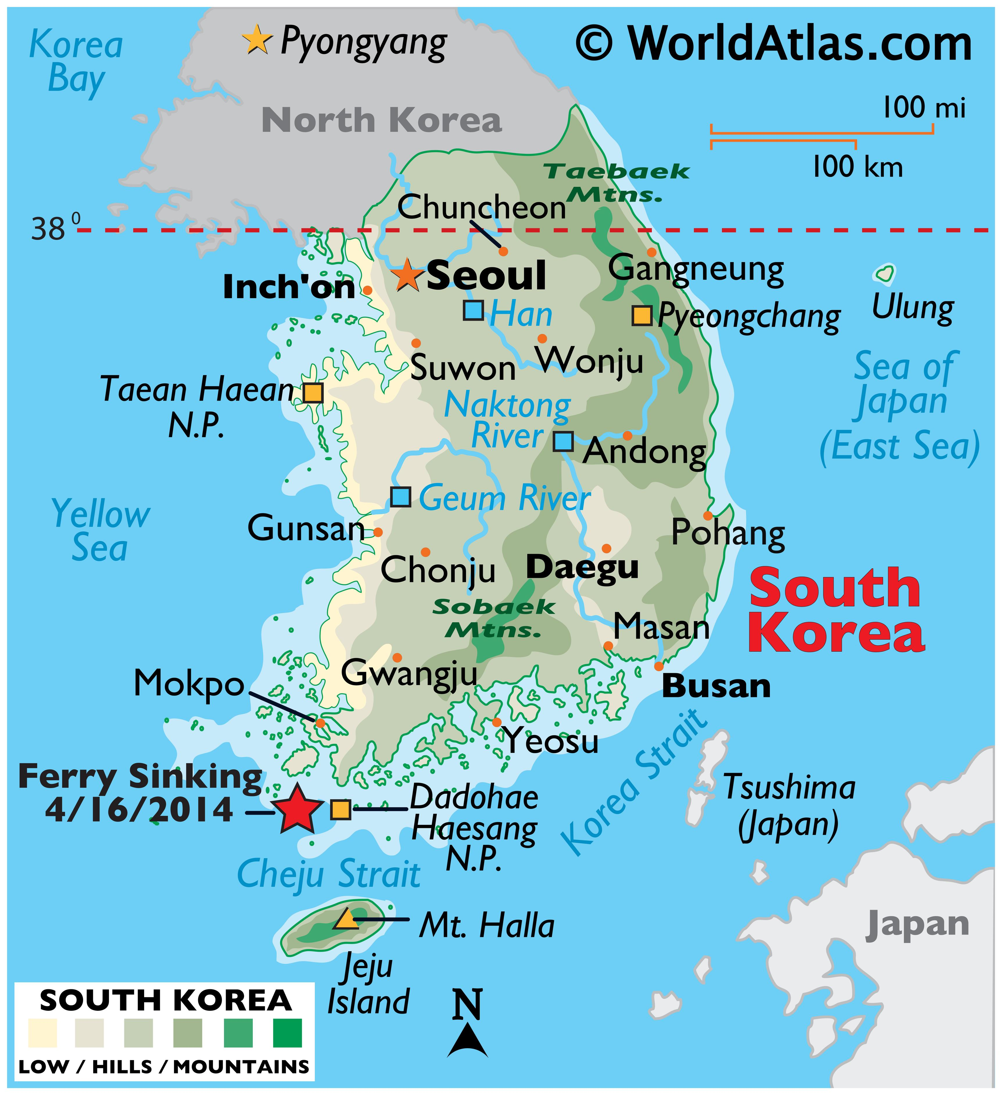 Physical Map of South Korea showing international borders, relief, major mountains, rivers, highest point, important cities and islands.