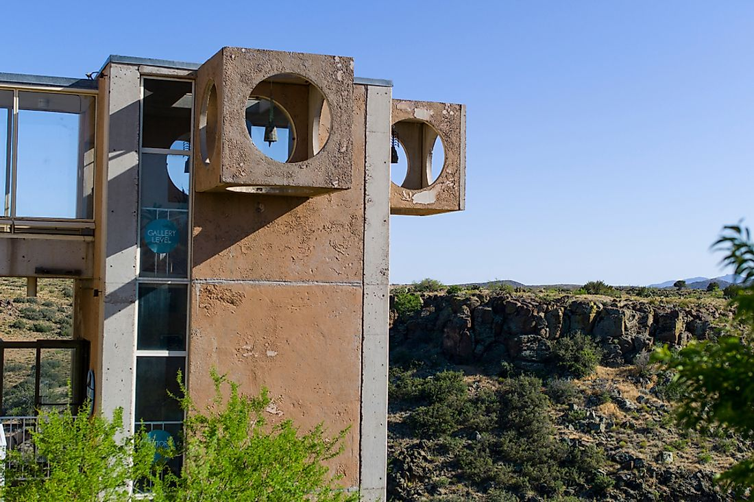 A building in Arcosanti, Arizona. Arcosanti experiments with many elements of arcology. Editorial credit: DBSOCAL / Shutterstock.com.