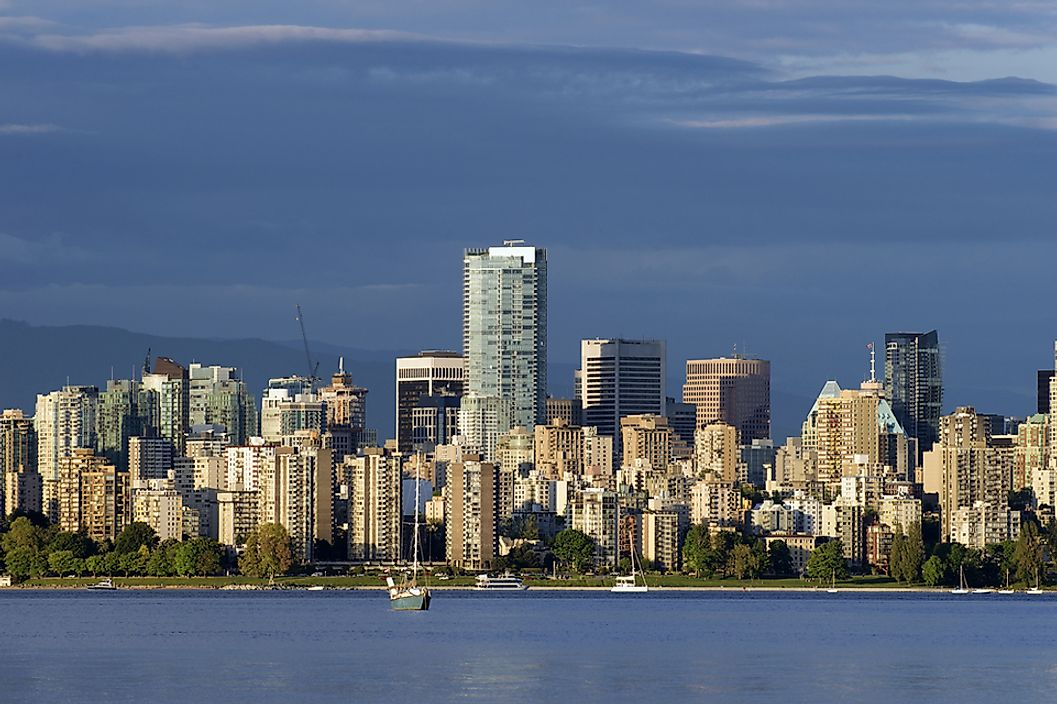 The skyline of Vancouver features numerous tall buildings.