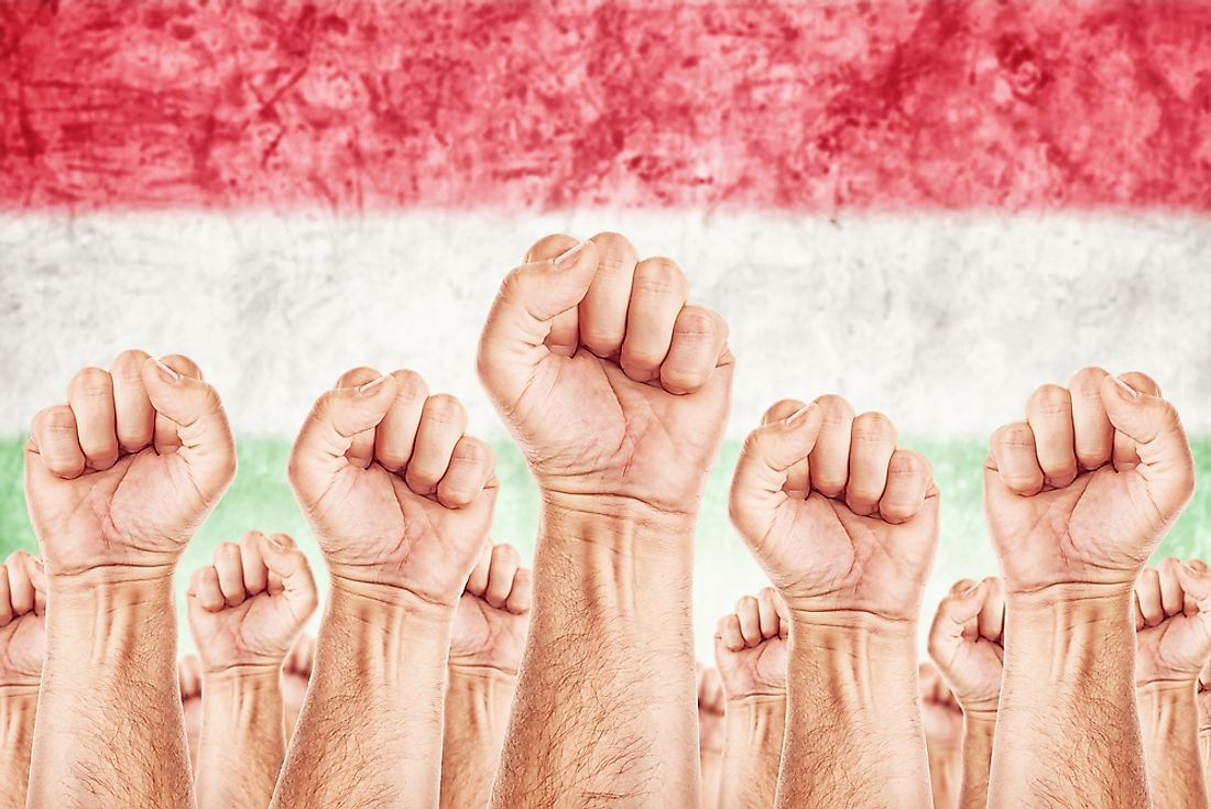 Clenched fists against a Hungarian flag.