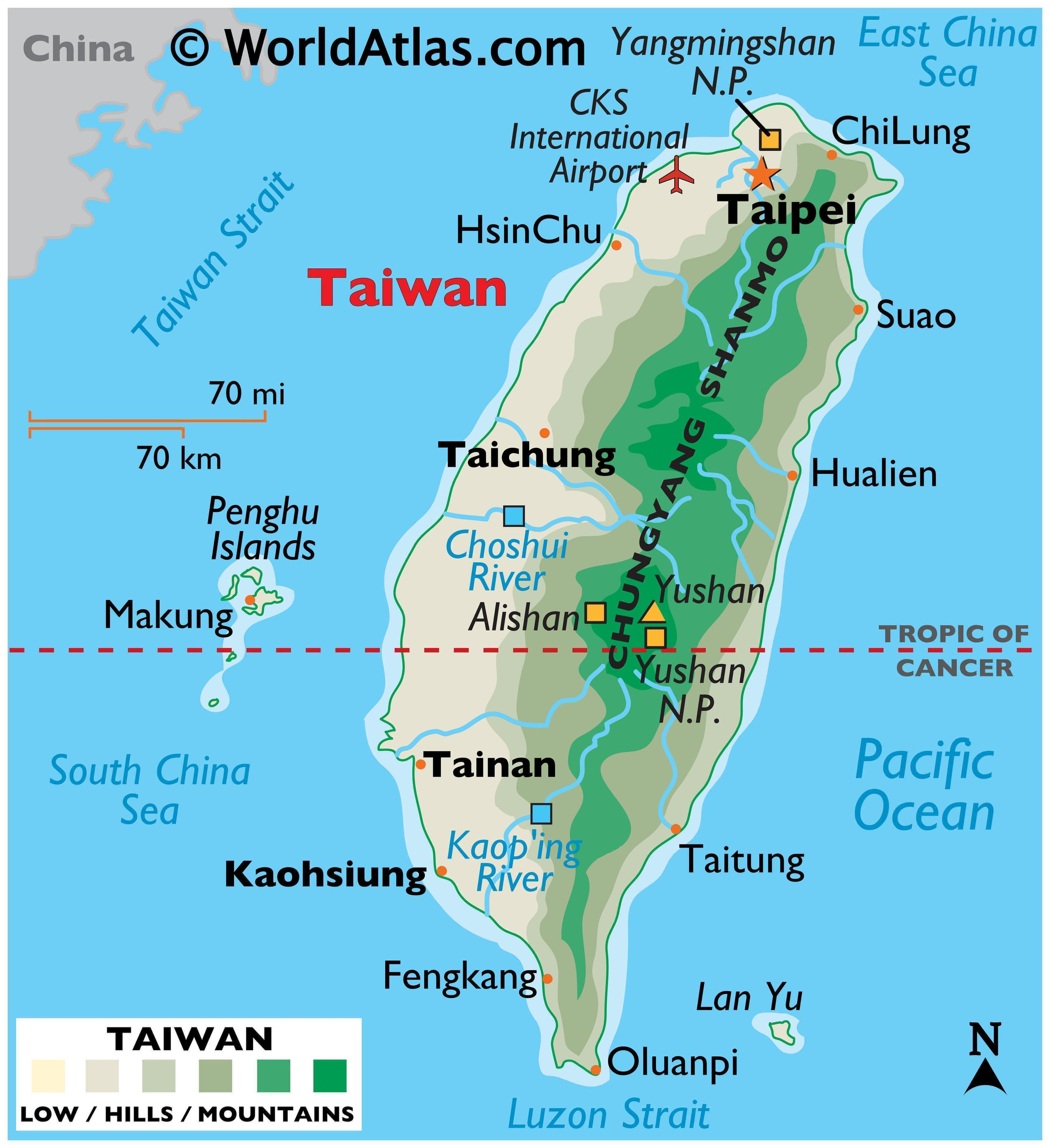 Physical Map of Taiwan with state boundaries, relief, major rivers, lakes, highland areas, highest peak, important cities, and more.