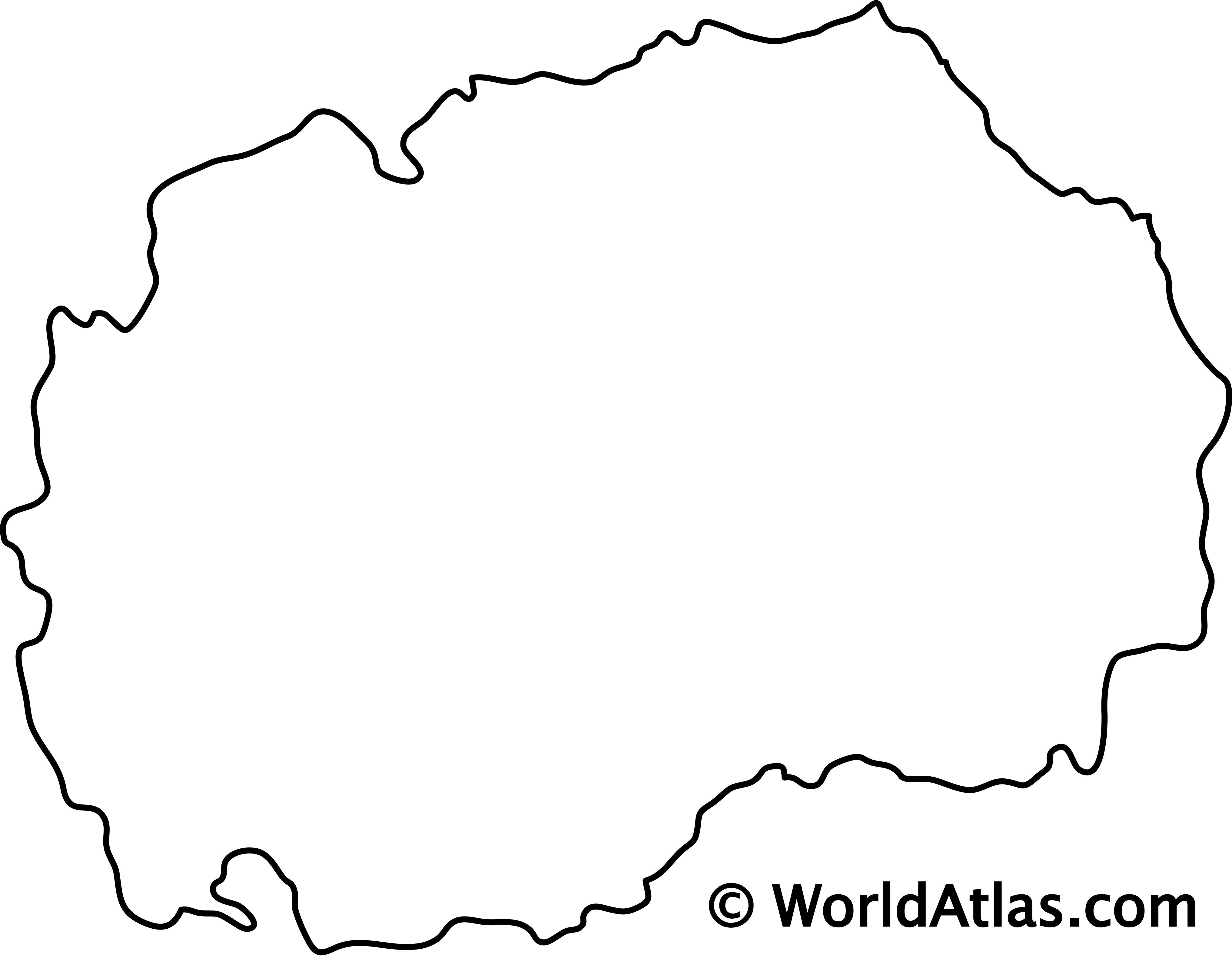 Blank Outline Map of North Macedonia