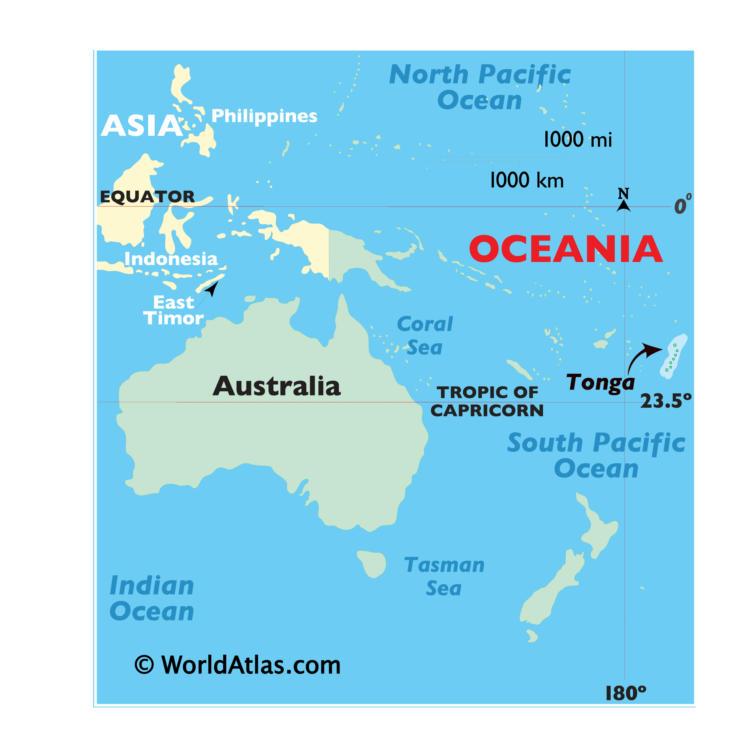 Map showing location of Tonga in the world.