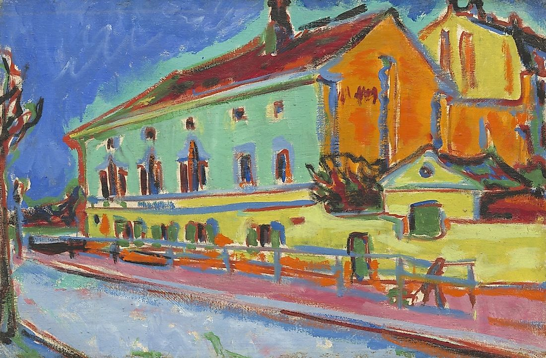 This painting incorporates elements of Fauvism.