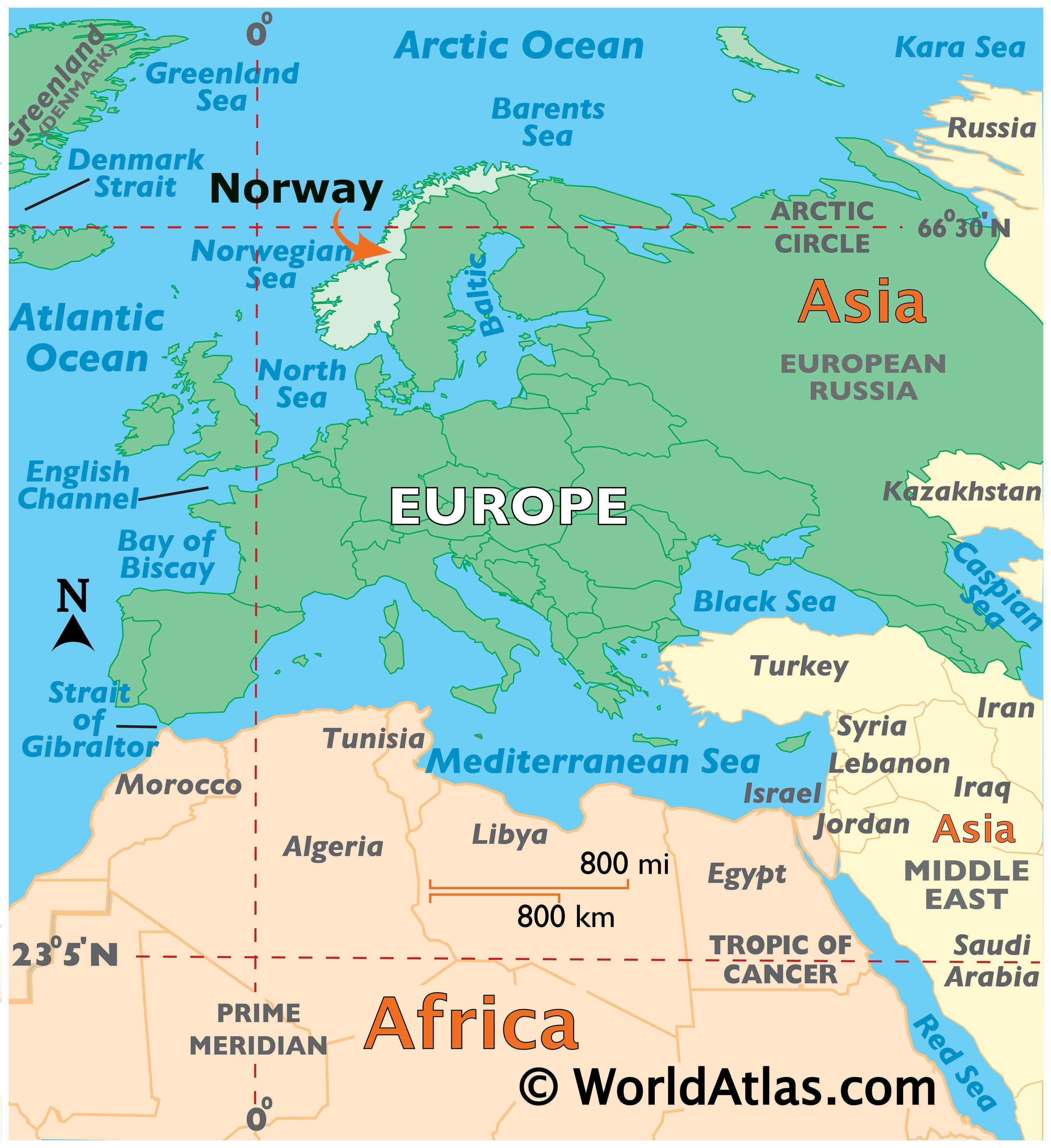 Map showing location of Norway in the world.