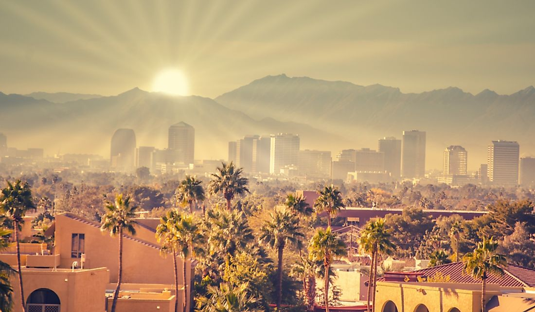 Sunrise over the city of Phoenix, Arizona.