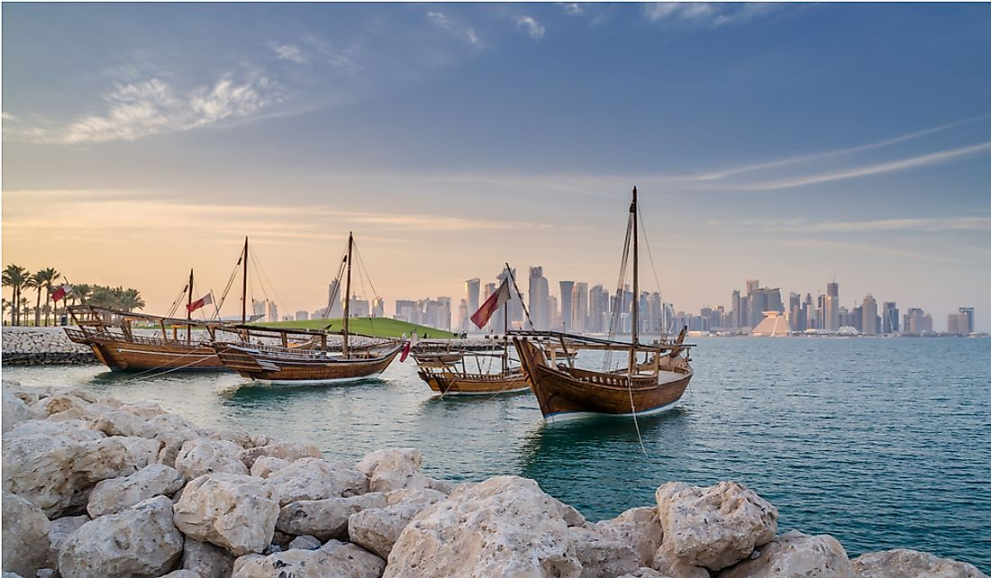 Traditional Arabian dhows moored in Doha, Qatar.