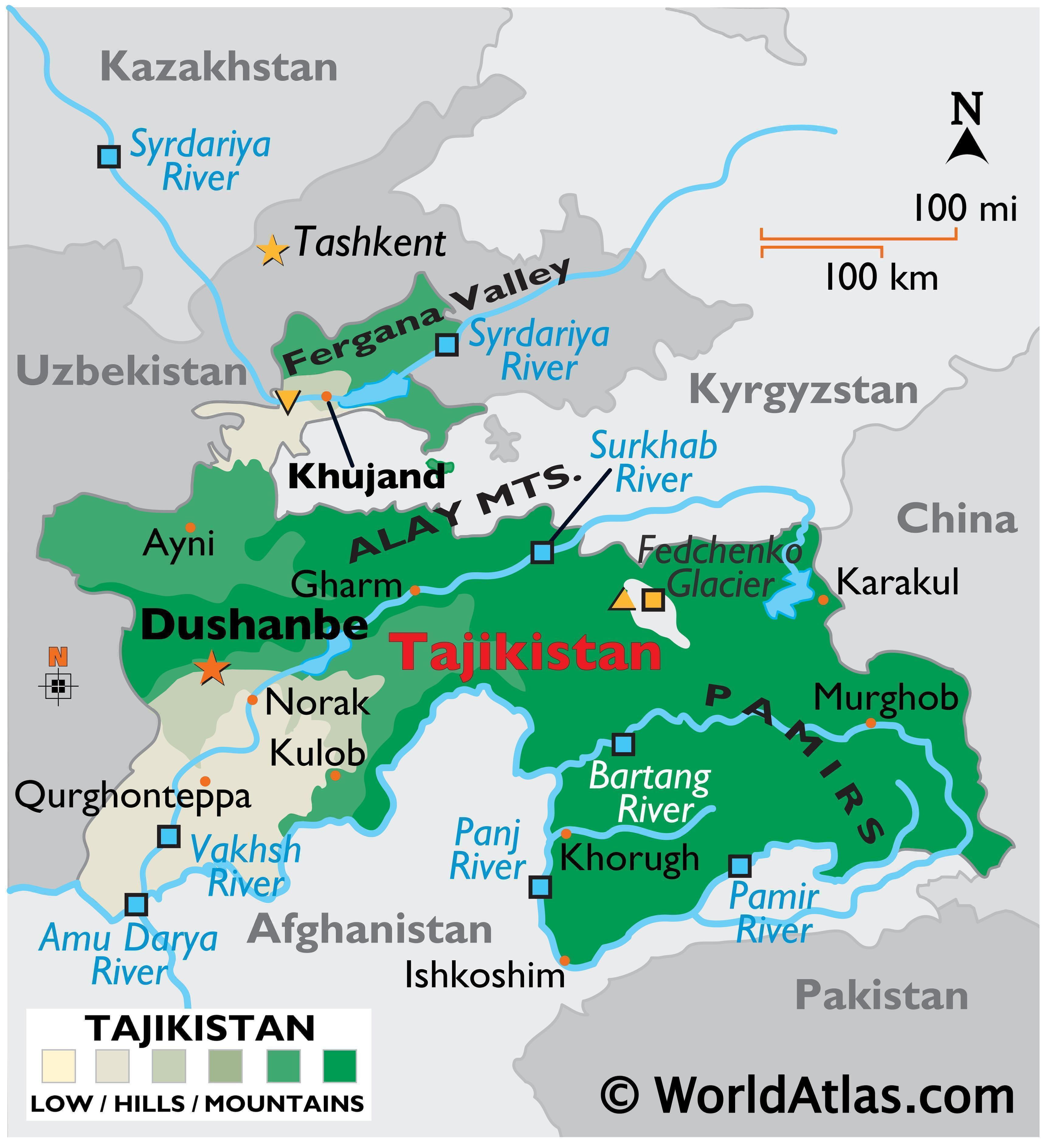 Phyiscal Map of Tajikistan with state boundaries, relief, major mountain ranges, rivers, Fedchenko Glacier, Fergana Valley, extreme points, etc.