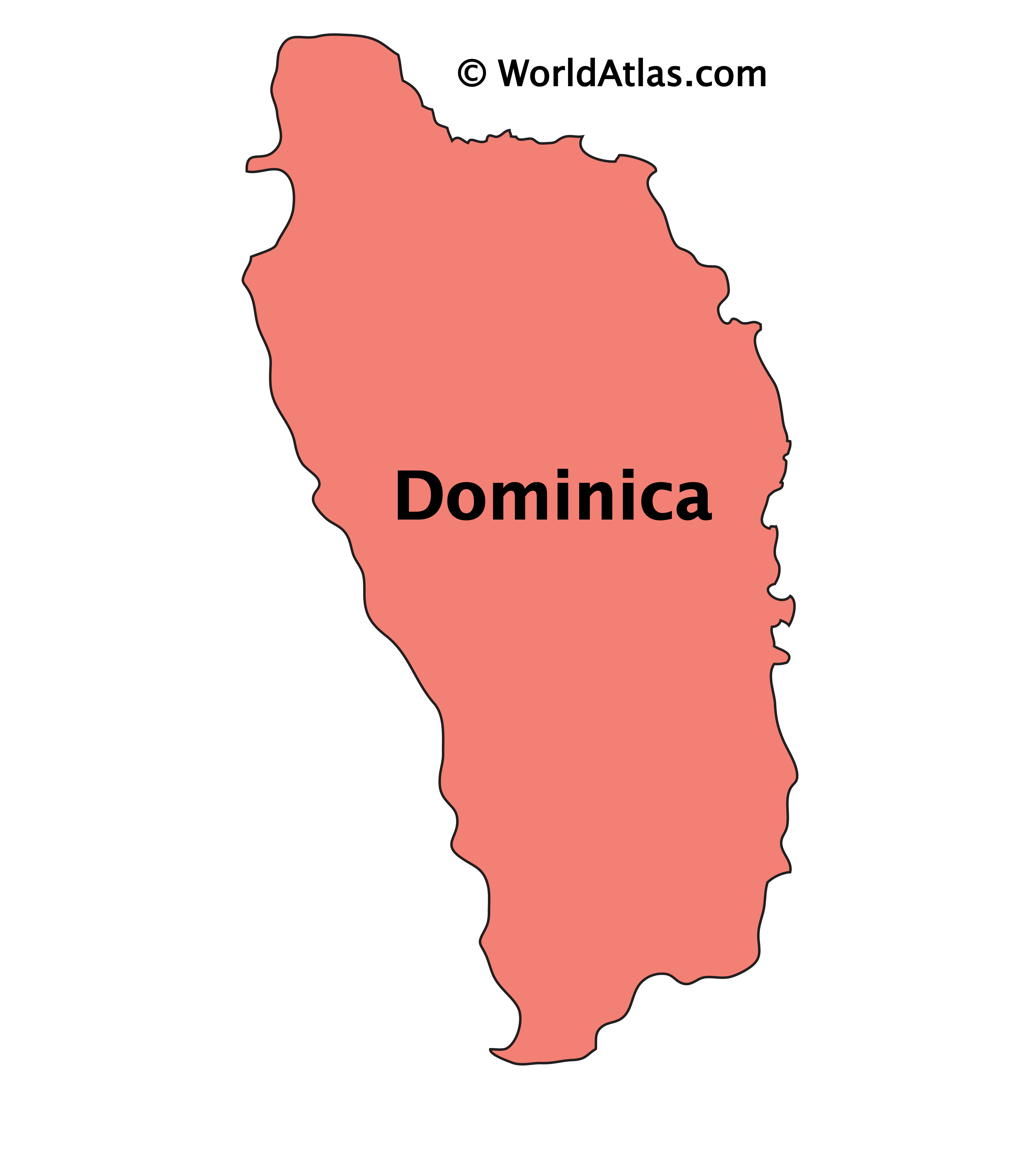 Outline Map of Dominica