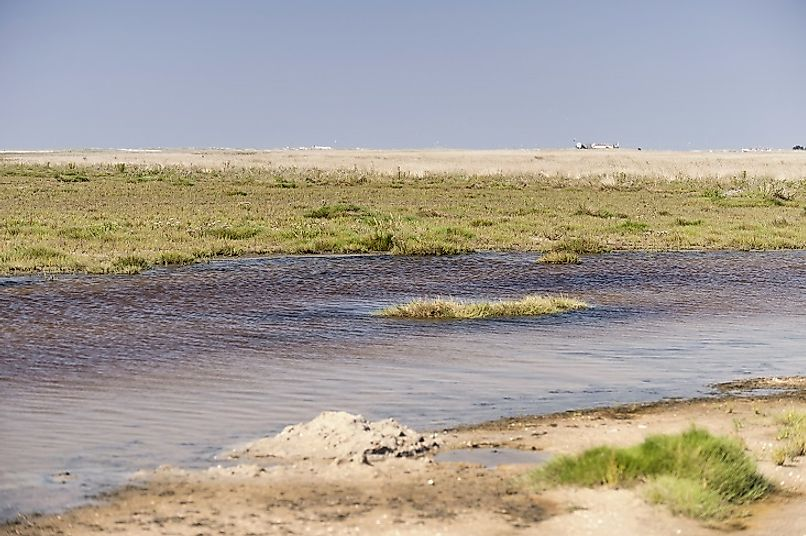 Waters stretch inland along the Wadden Sea near Westerhever, Germany.
