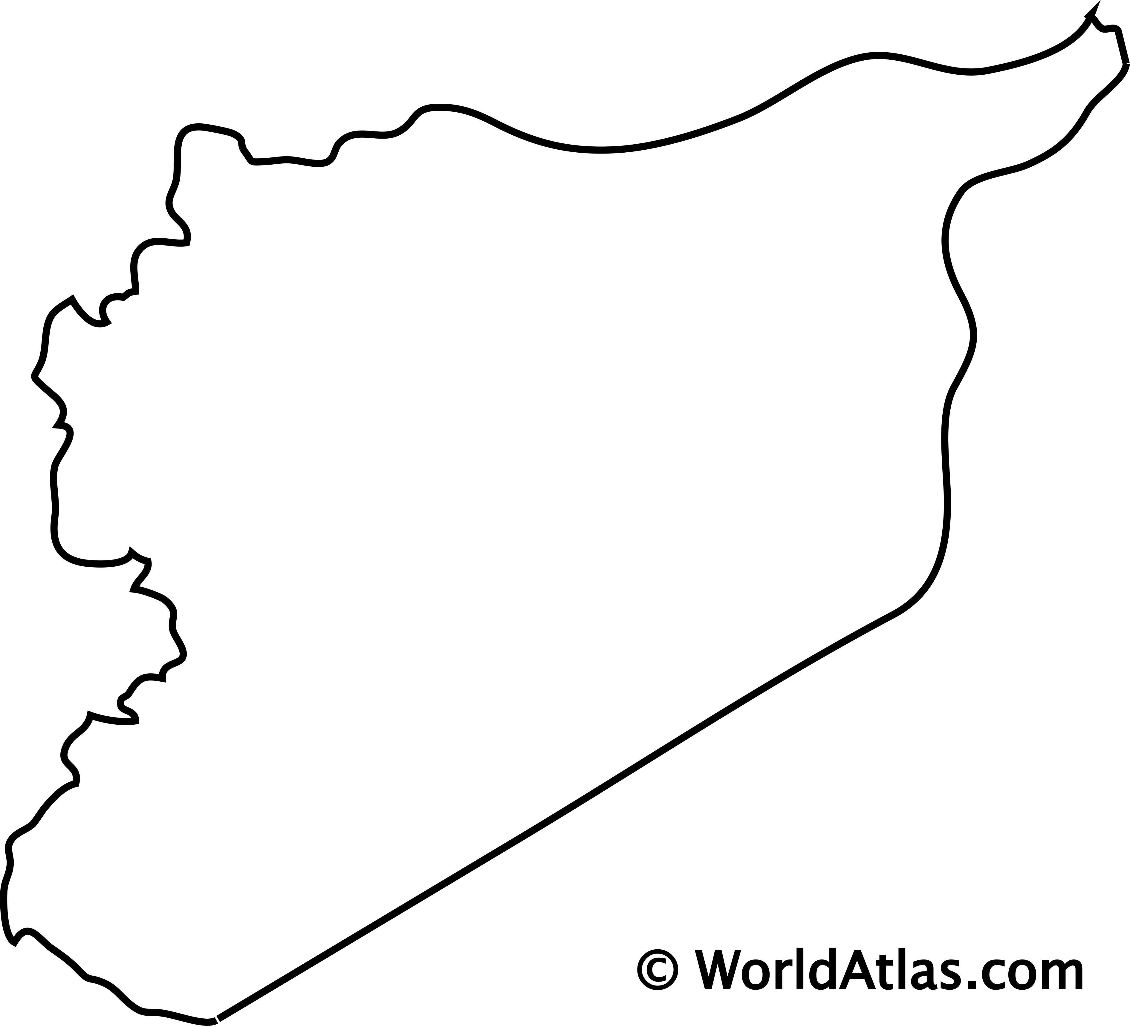 Blank Outline Map of Syria