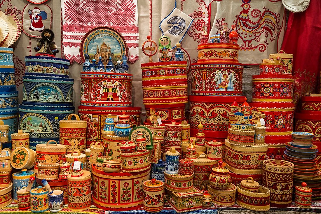 Russian folk art and crafts at a market.