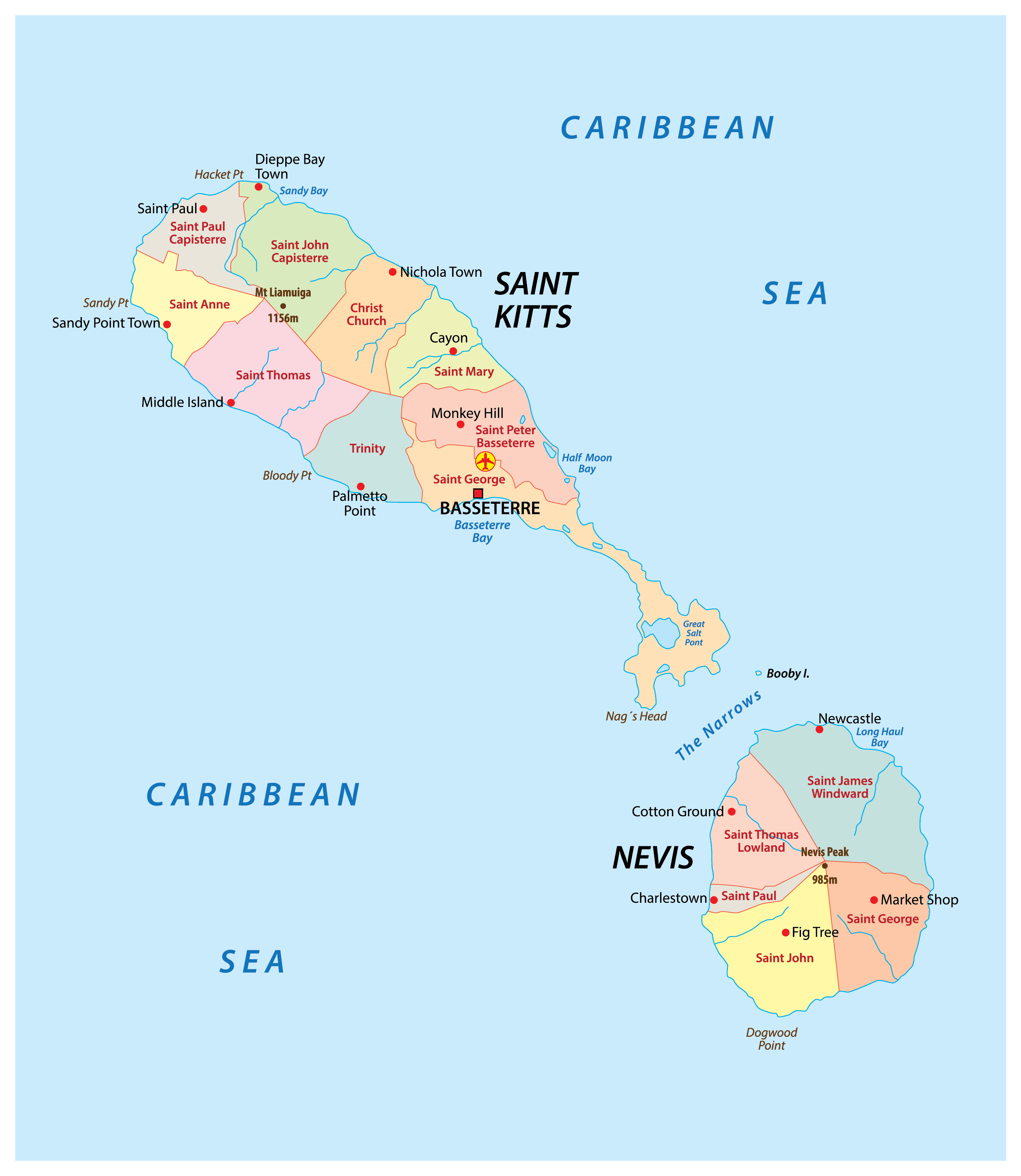 Political Map of Saint Kitts and Nevis showing its 14 parishes and the capital city of Basseterre.