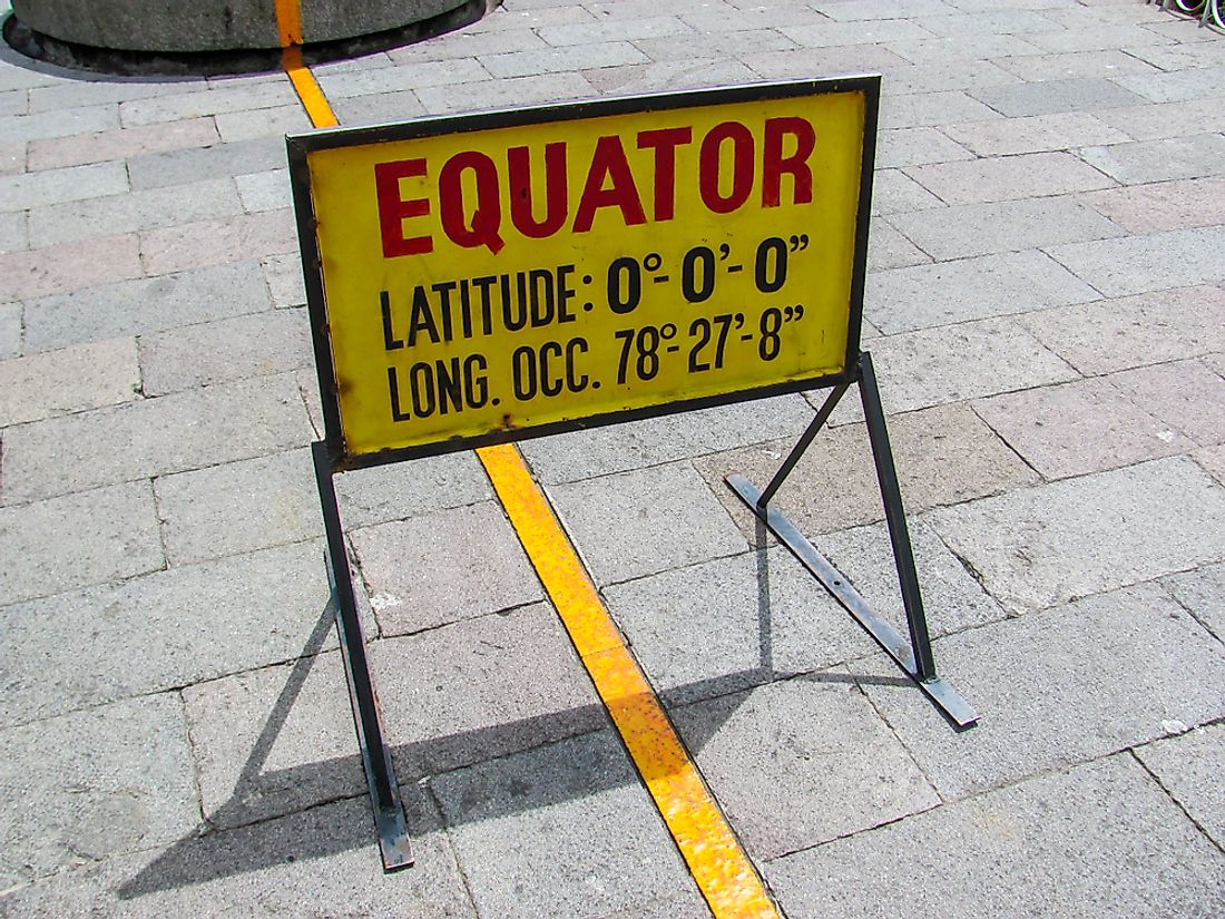 A sign marking the equator in Ecuador.