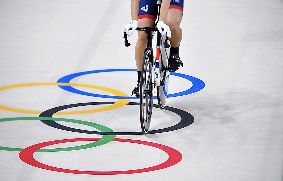 Cycling athlete crosses the Olympic ring. Credit: Shahjehan / Shutterstock.com