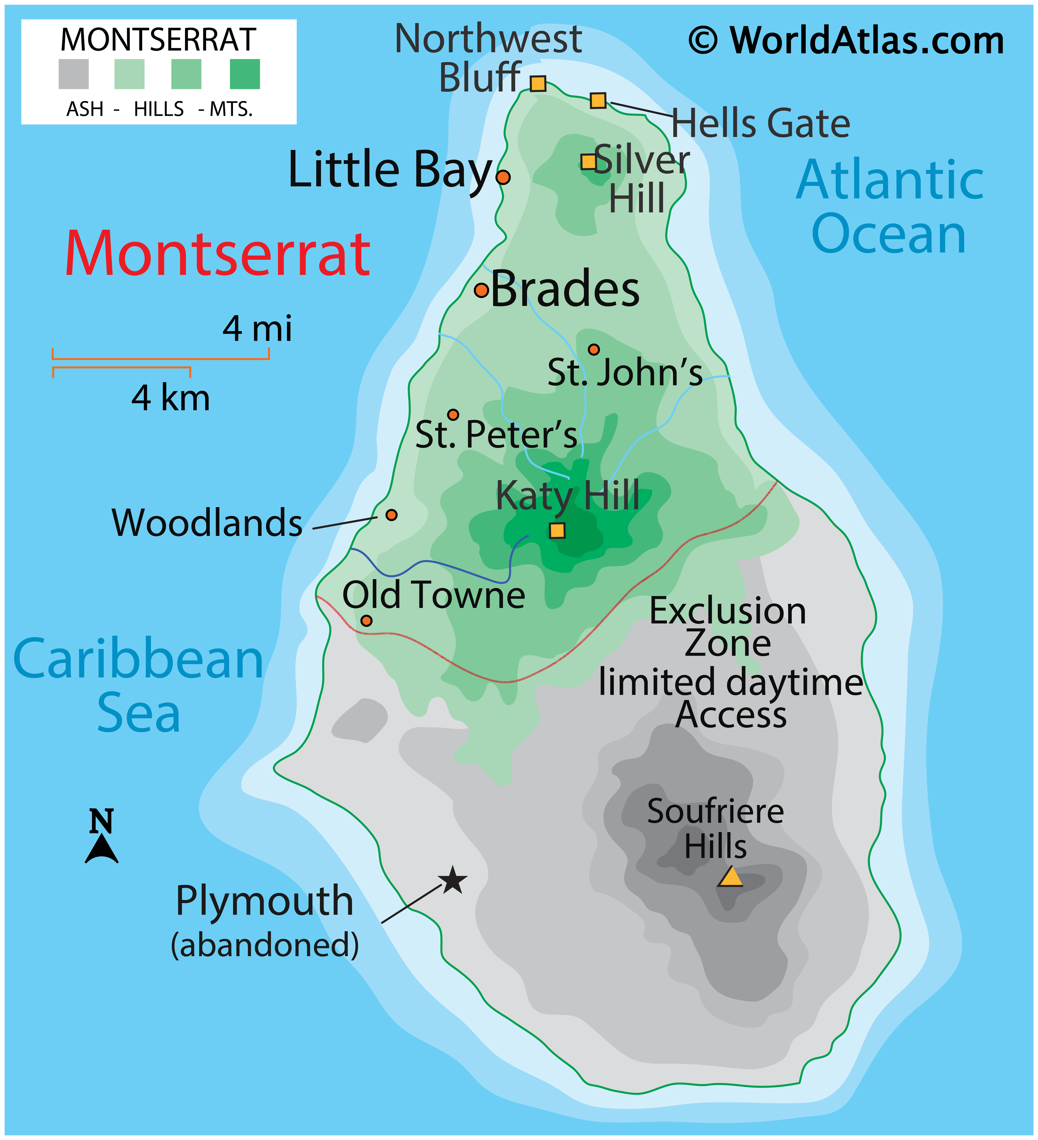 Physical Map of Montserrat showing relief, hills, highest point, Exclusion Zone, etc.