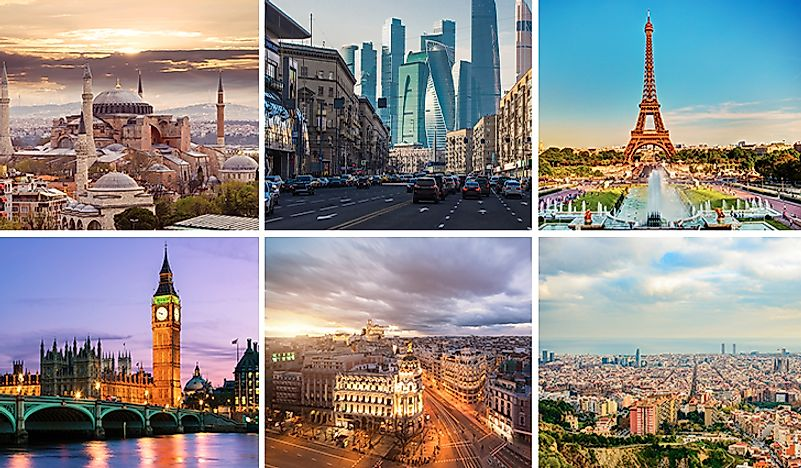 From top left to bottom right: Istanbul, Moscow, Paris, London, Madrid, and Barcelona.
