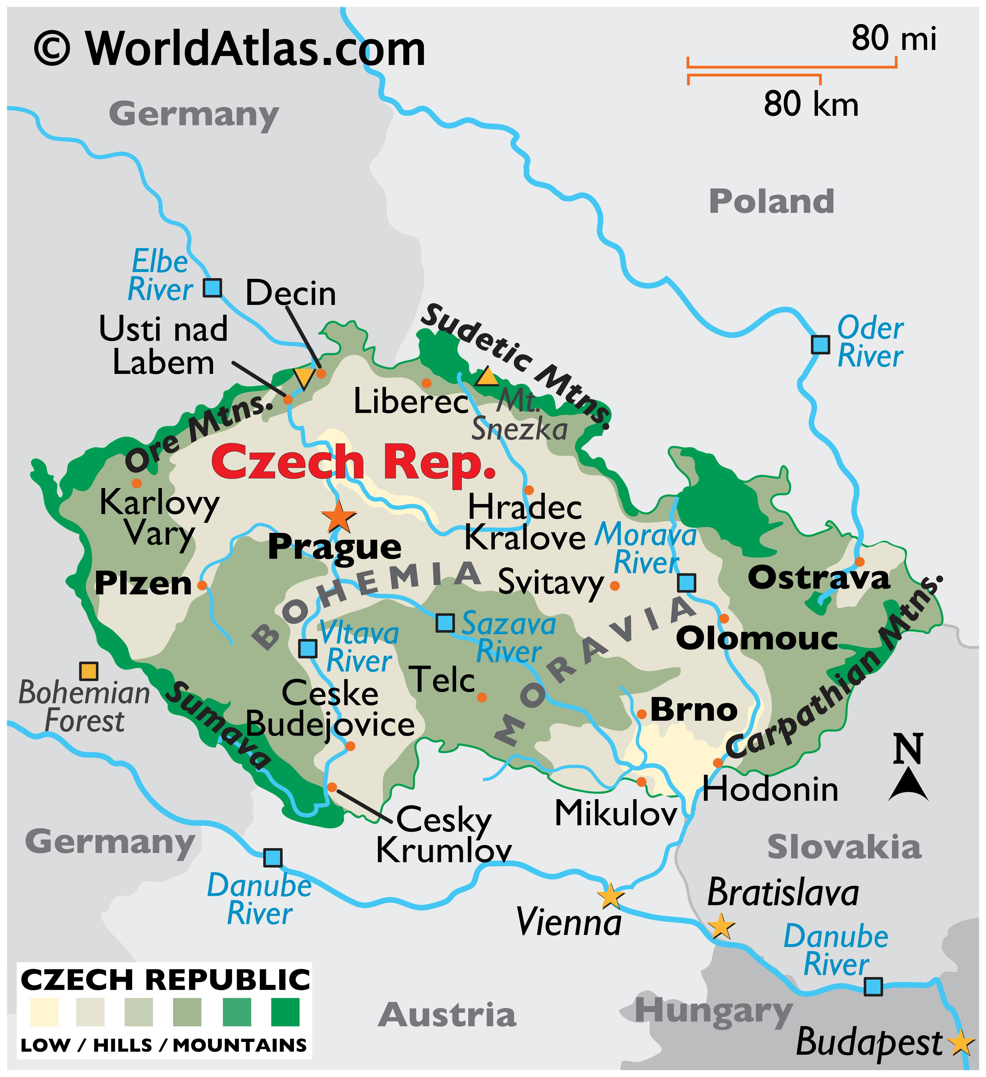 Physical Map of the Czech Republic showing terrain, major rivers, extreme points, important cities, international boundaries, etc.