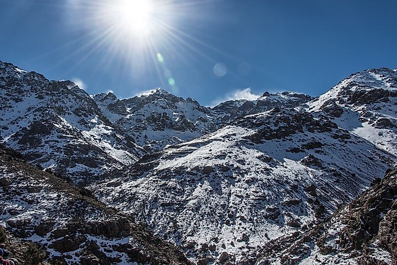 The snowy, craggy ascent to the top of Toubkal in the Atlas Mountain range.