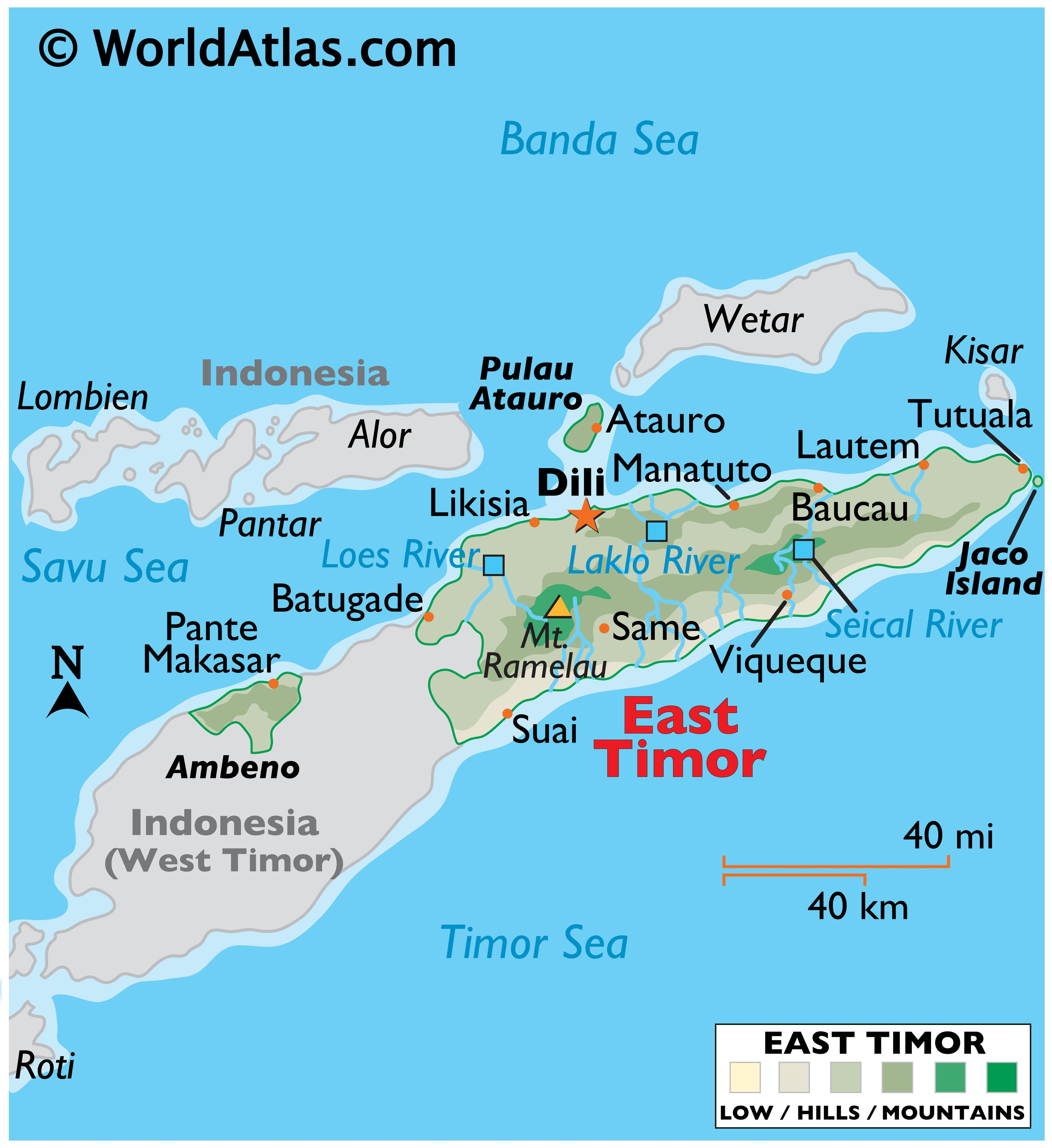 Physical Map of East Timor with state boundaries, relief, major rivers, highest peak, important cities, and more.
