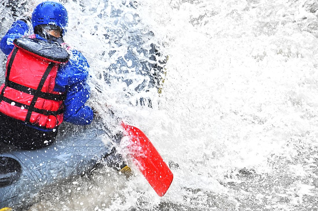 White water rafting is an extreme sport that is popular in many areas around the world.