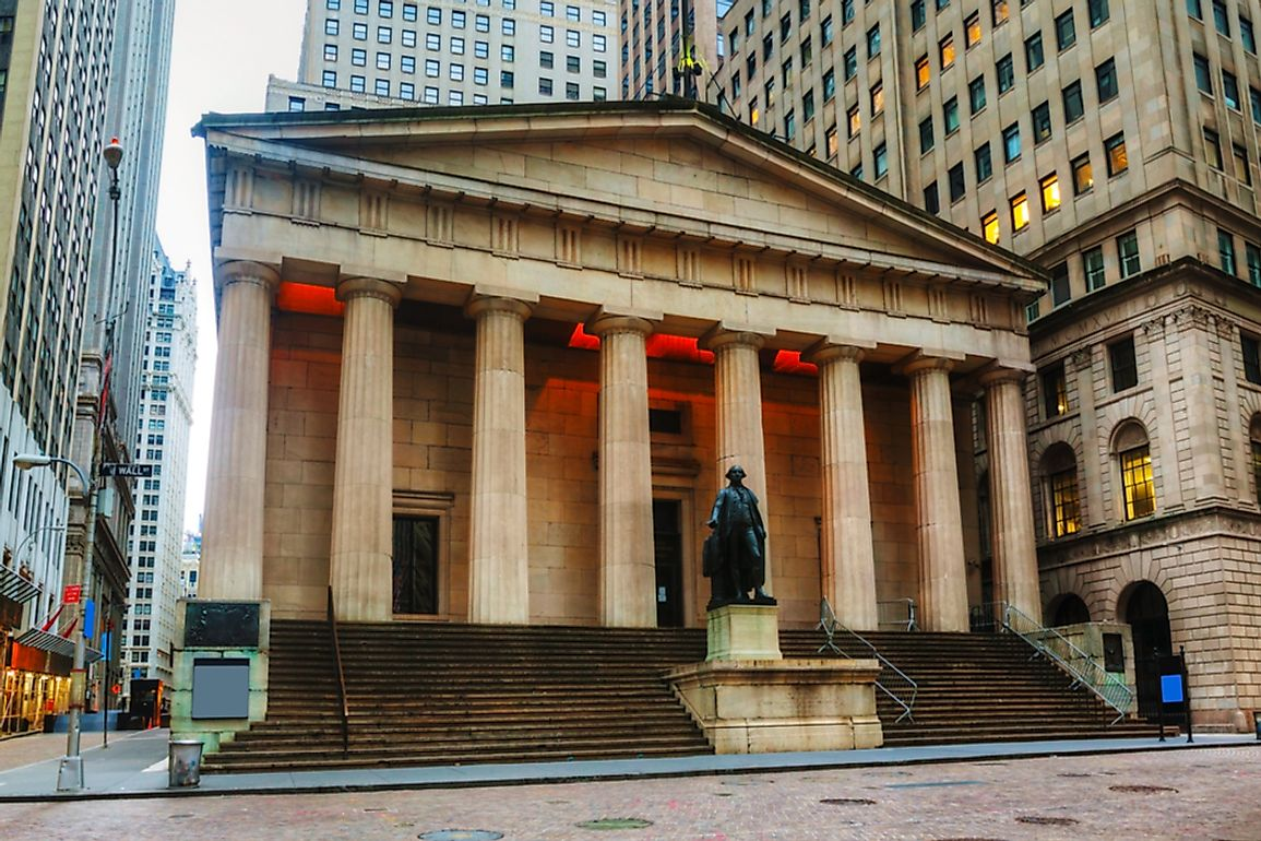 Statue of George Washington in front of the Federal Hall National Memorial.