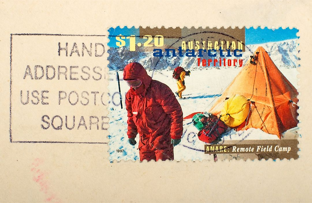 A postage stamp highlighting the field research conducted in the Australian Antarctic Territory.