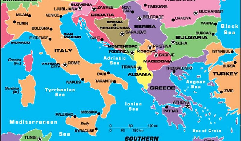 Map of Southern Europe.