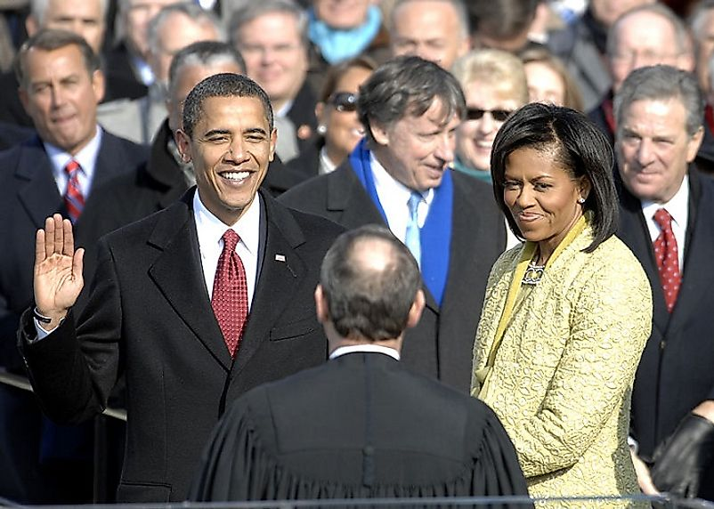 U.S. President Barack Obama taking the Oath of Office on January 20th 2009.