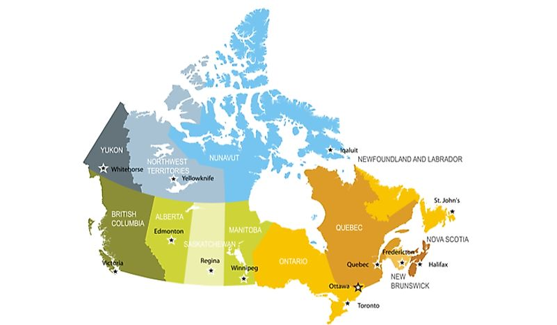 Political map of Canada.