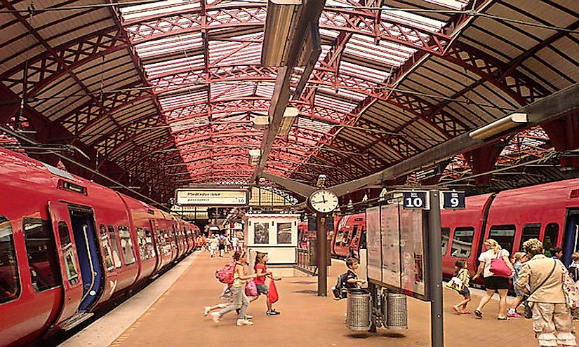 Copenhagen Central Station with S-Trains: Denmark has a well developed transport infrastructure that strengthens the economy of the nation.