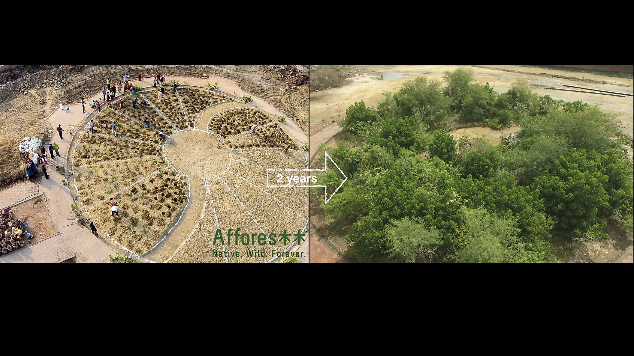 Transformation of Clifton Park, Pakistan (Before and After) by Afforestt. Credit_urbanforest.pk