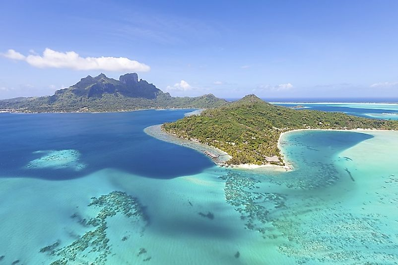 A breathtaking view of the Tahitian coast as seen from helicopter.