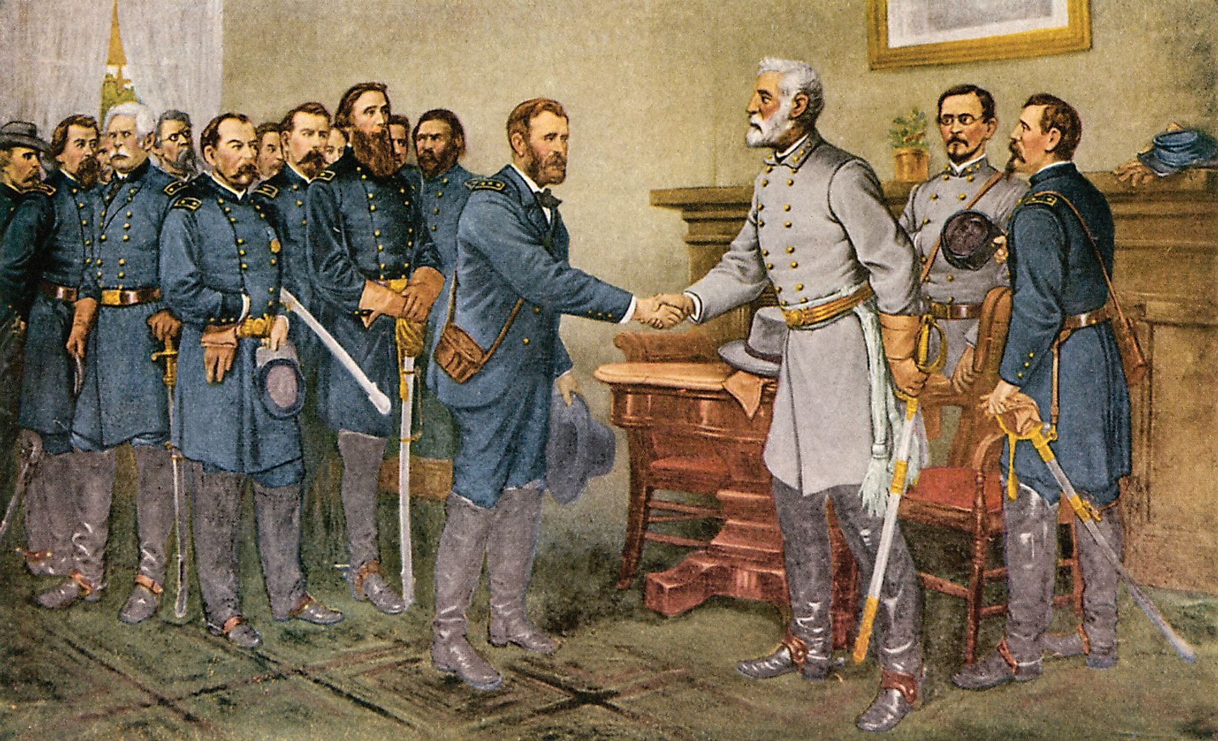 Surrender of General Lee to General Grant at Appomattox Court House during the Third Battle of Petersburg. Image credit: Thomas Nast / Public domain