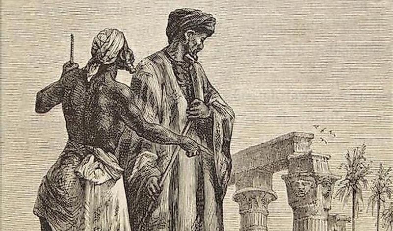 In this depiction by the French novelist Jules Verne in 1878, Ibn Battuta is shown around a settlement in Egypt.