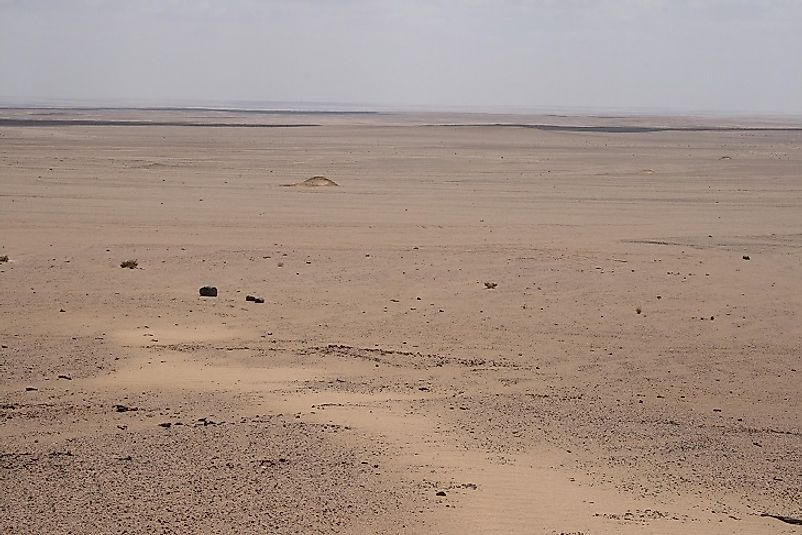 Vast expamses of the Qattara Depression near the site of the World War 2 battles of El-Alamein in Egypt.