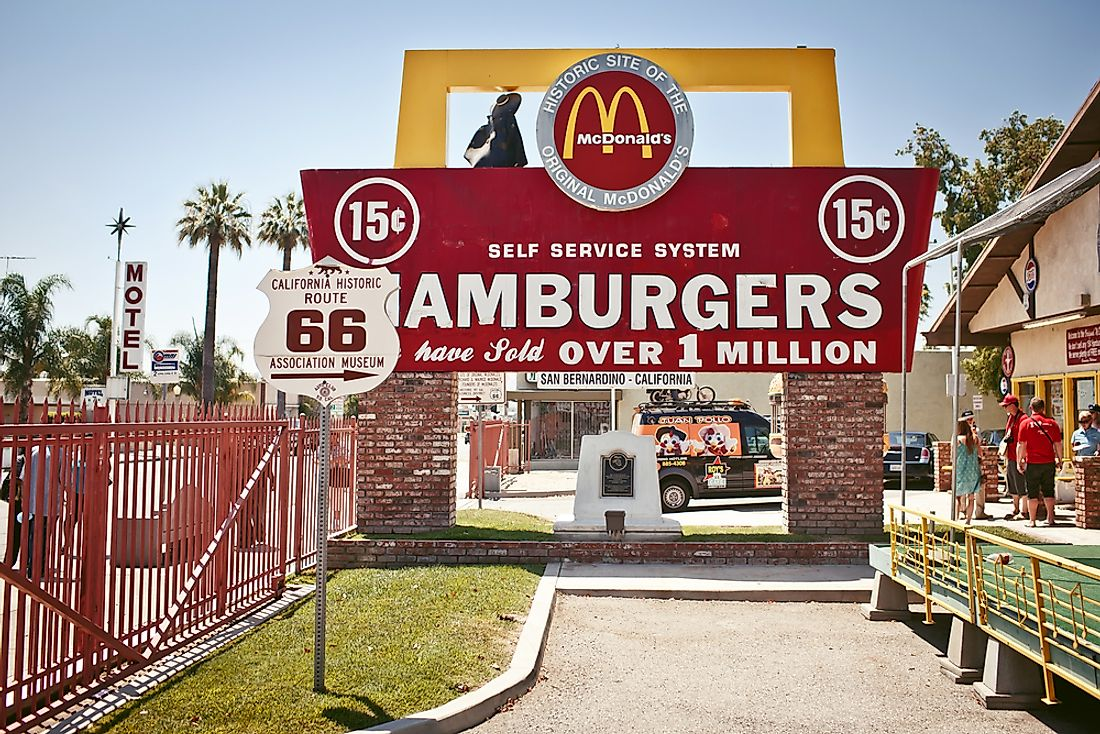 A sign outside of the first McDonald's in the world in San Bernardino, California. Part of the sign is original. Editorial credit: Andrey Bayda / Shutterstock.com.