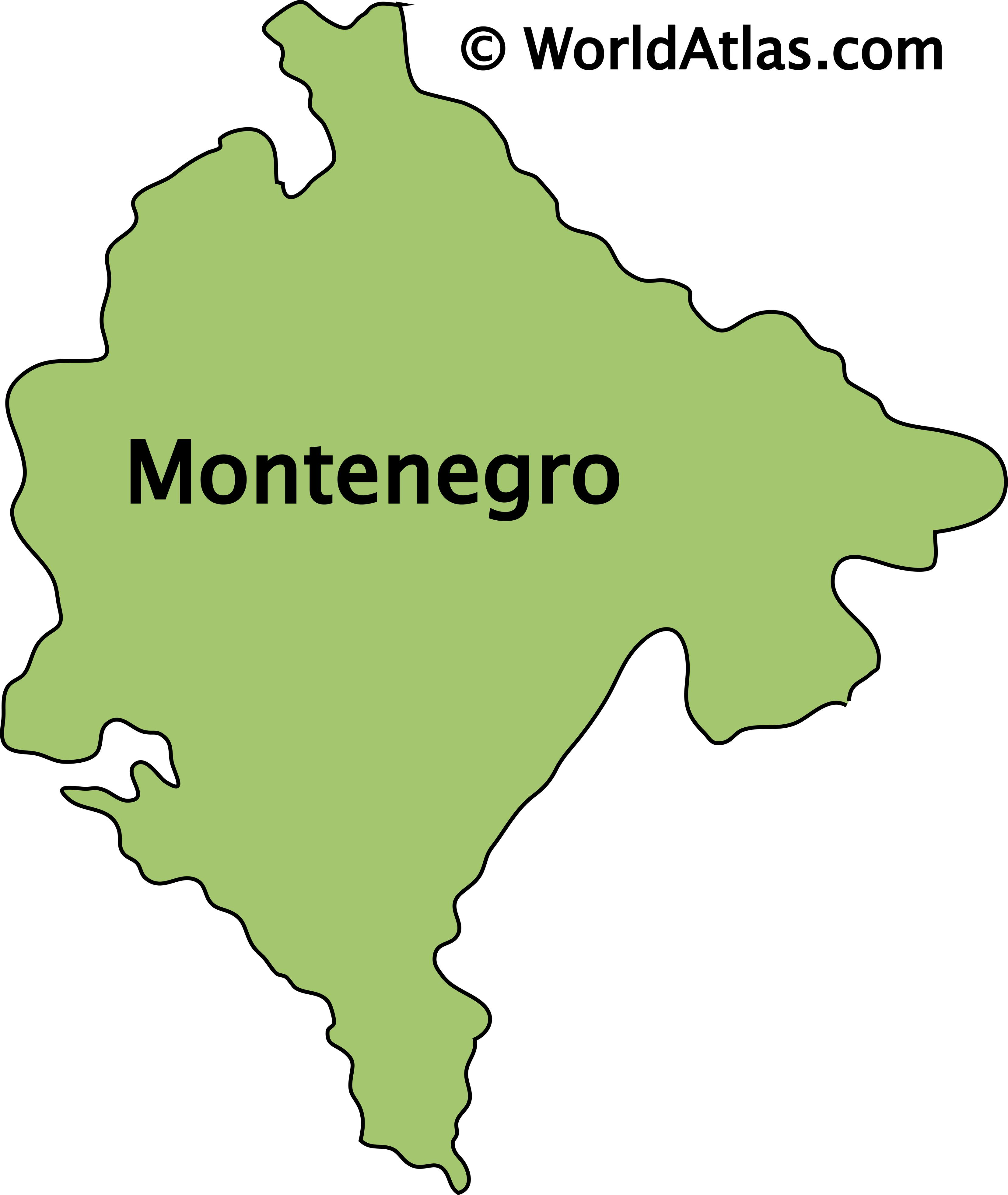 Outline Map of Montenegro