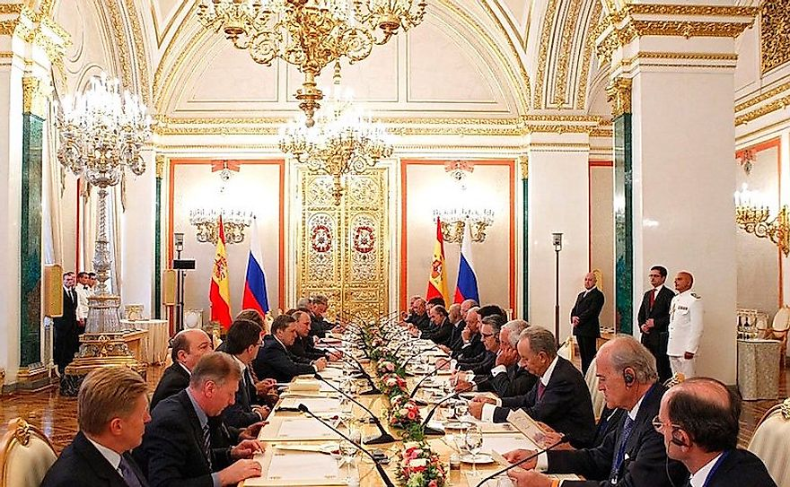 A meeting between representatives of Russian and Spanish business communities at Moscow.